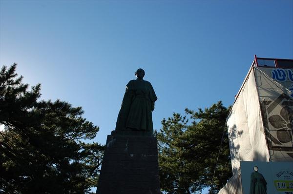 午後に撮影した坂本竜馬像