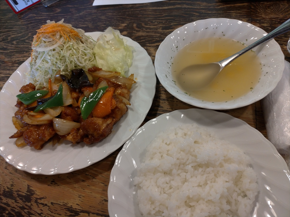 鳥心の定食 - 辛子炒め定食