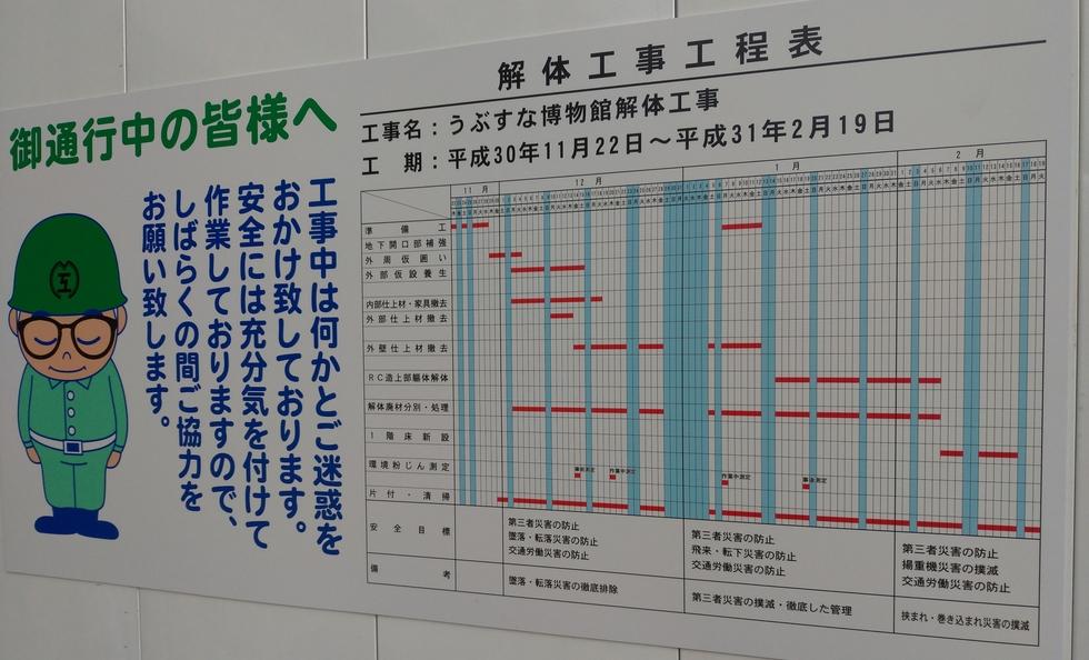 高知県うぶすな博物館 (解体スケジュール)