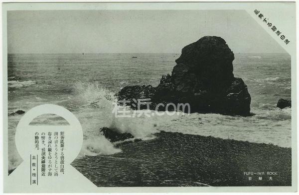 桂浜の古い絵葉書(夫婦岩)