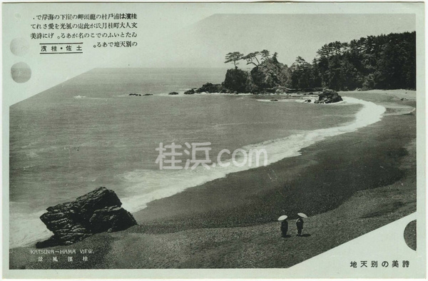 桂浜の古い絵葉書(桂浜の本浜)