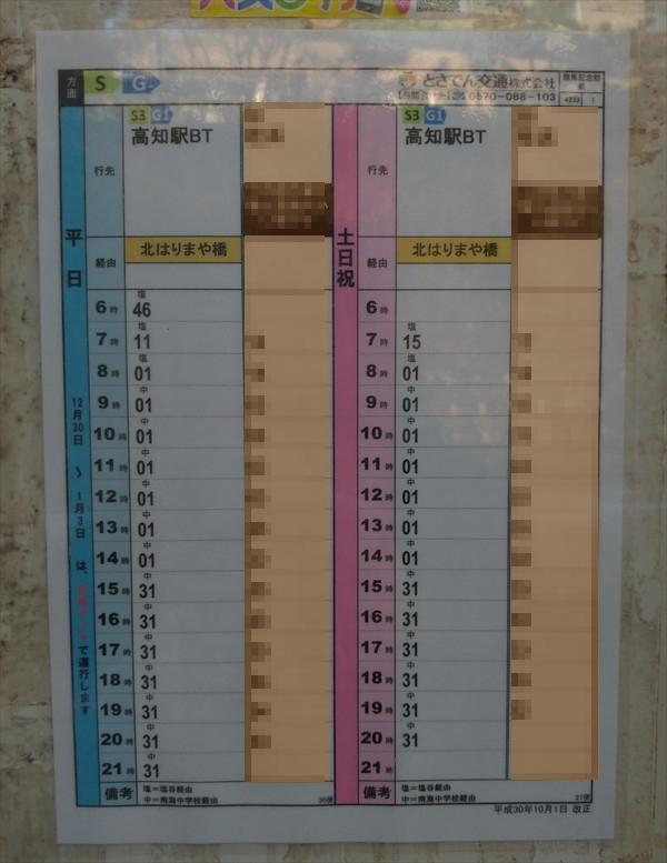 桂浜発のバス時刻表(路線バス)