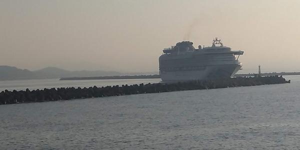 ダイアモンド・プリンセスの高知新港の入港の様子