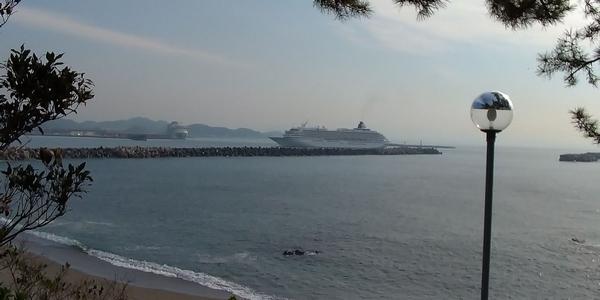 飛鳥Ⅱの高知新港の入港の様子
