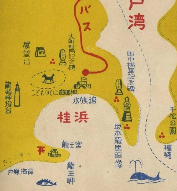 桂浜にあった桂浜展望台マップ