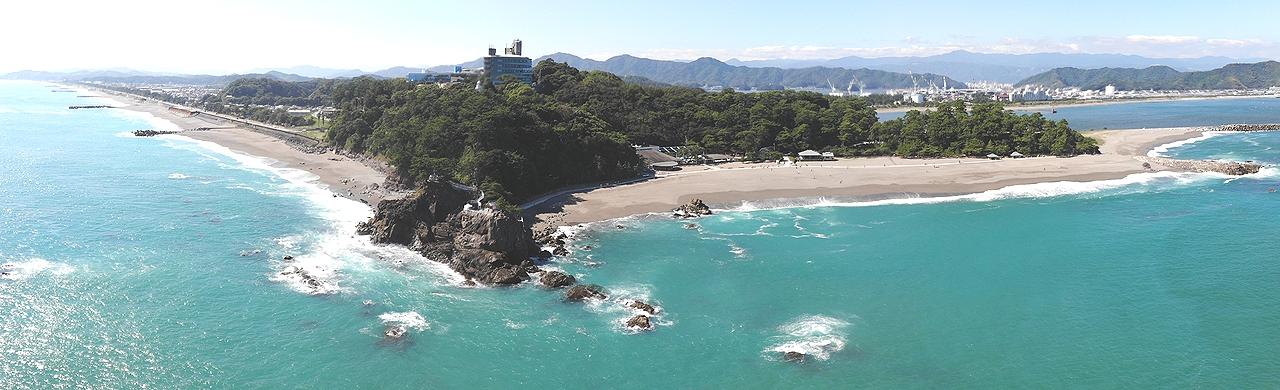 桂浜の海津見神社を空撮