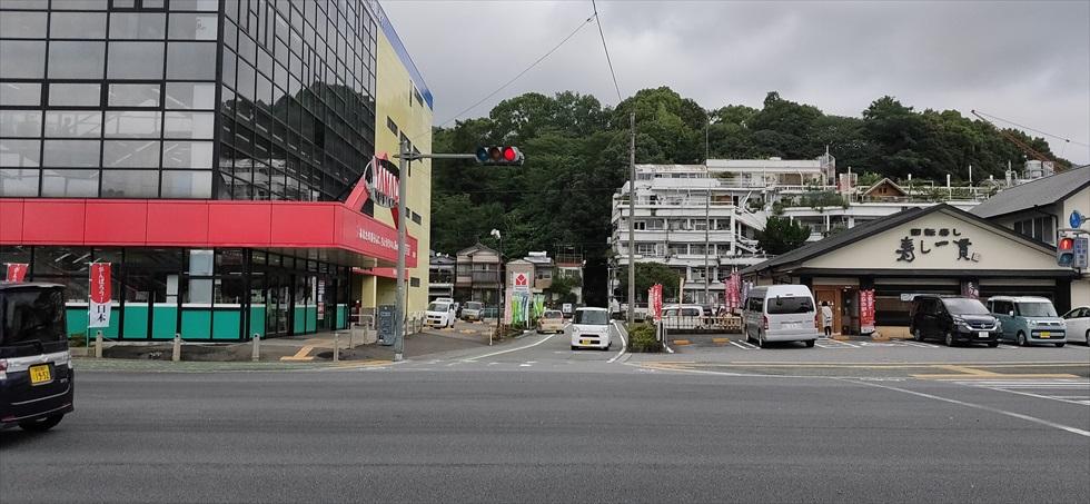 岡田以蔵の墓への徒歩順路(ヤマダ電機を見つける)