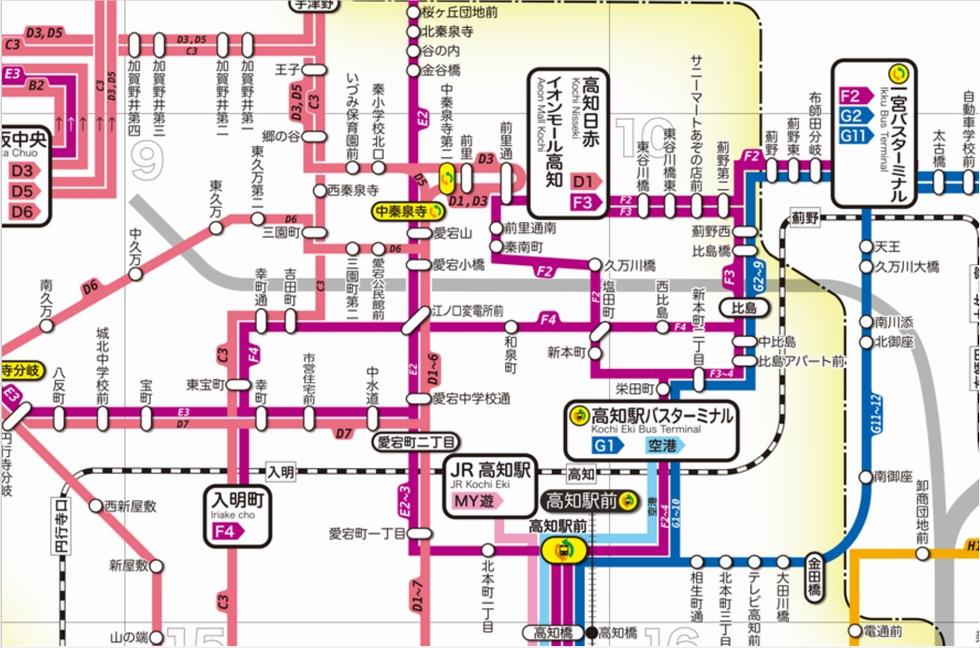 岡田以蔵の「お墓」へバスで行く(路線図)